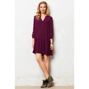 Anthropologie Maeve Galina Purple Drop-waist Dress
